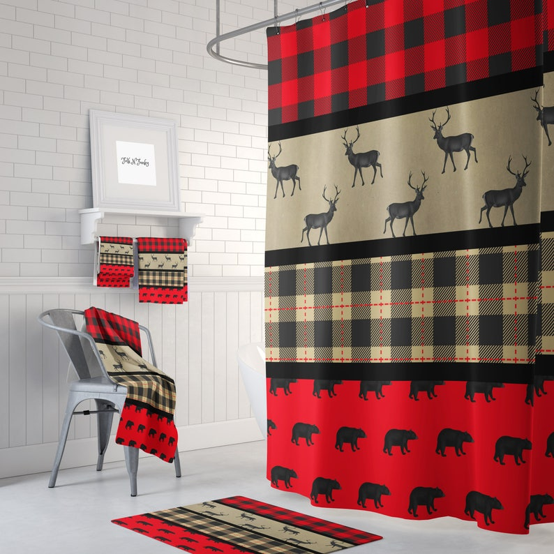Shower Curtain Lumberjack Plaid Primitive Woodland Bear