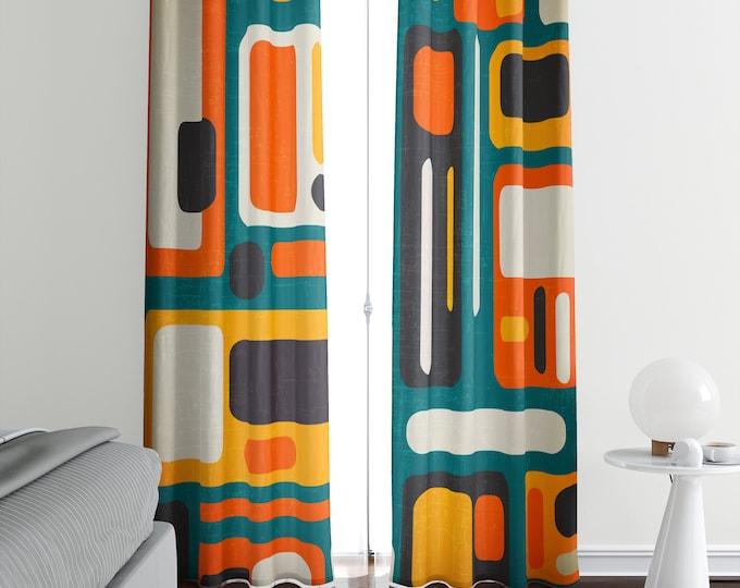 Mid Century Modern Window Curtains Retro Abstract