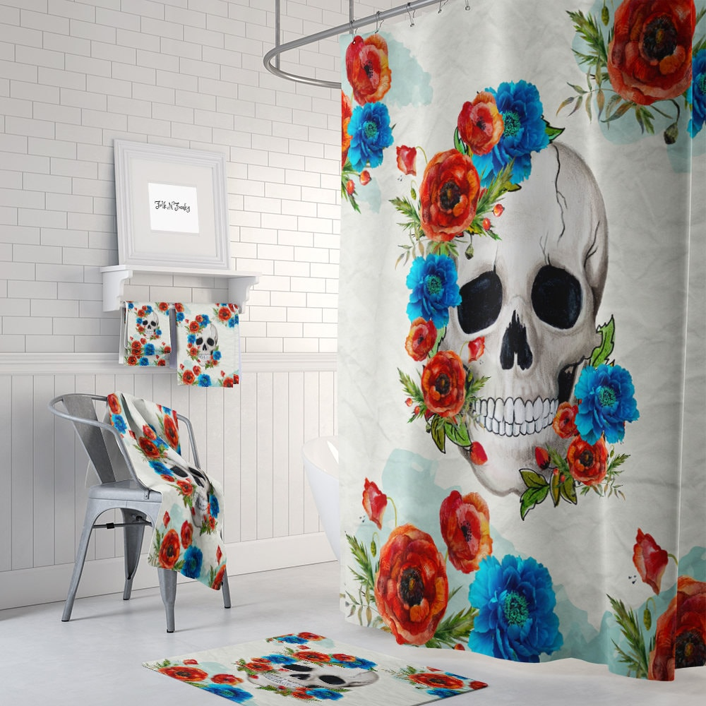 Floral Sugar Skull Shower Curtain Day Of The Dead Bath Mat Towels Poppy Rose