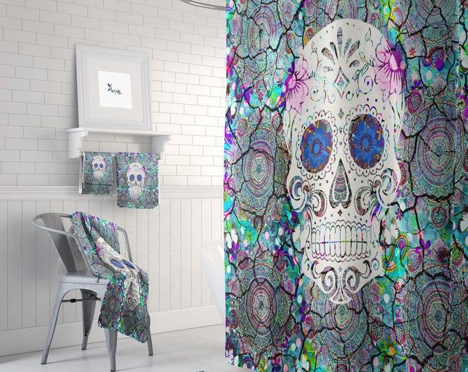Shower Curtain Sugar Skull Colorful  Mosaic Boho
