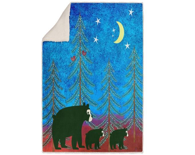Three bear Woodland Sherpa Fleece Blanket