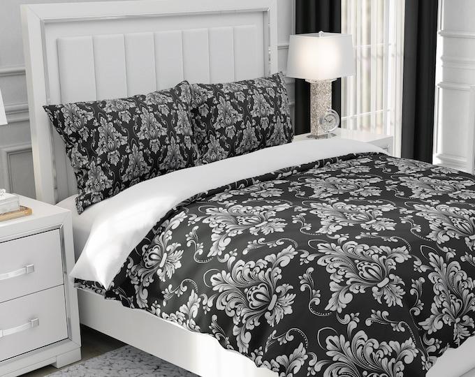 Black Damask Pattern Bedding, Comforter Set or Duvet Cover Set