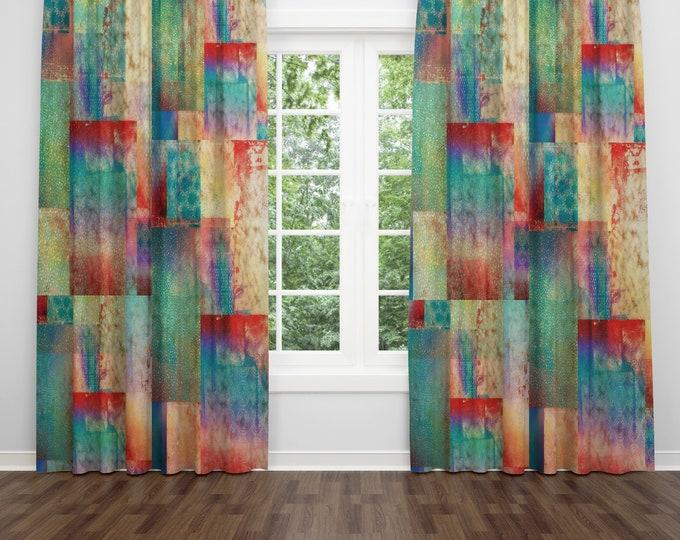 Boho Chic Window Curtains Gypsy Sundown Blackout Curtains or Window Sheers Valance