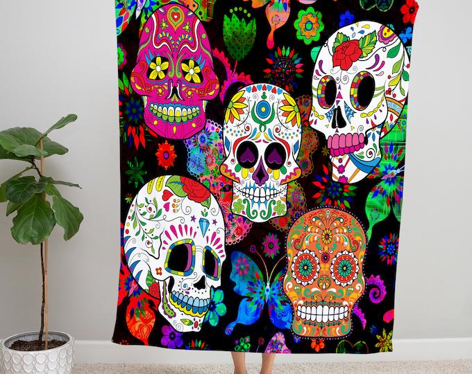 Rocking Color Sugar Skull Fleece Blanket