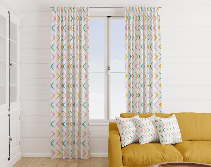 Mid Century Modern Window Curtains  Retro Atomic Boomerang