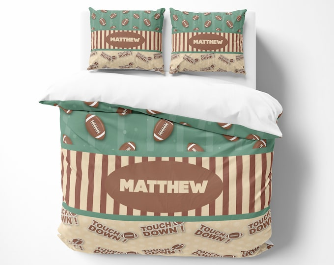 Personalized Football Bedding Comforter or Duvet Cover Set