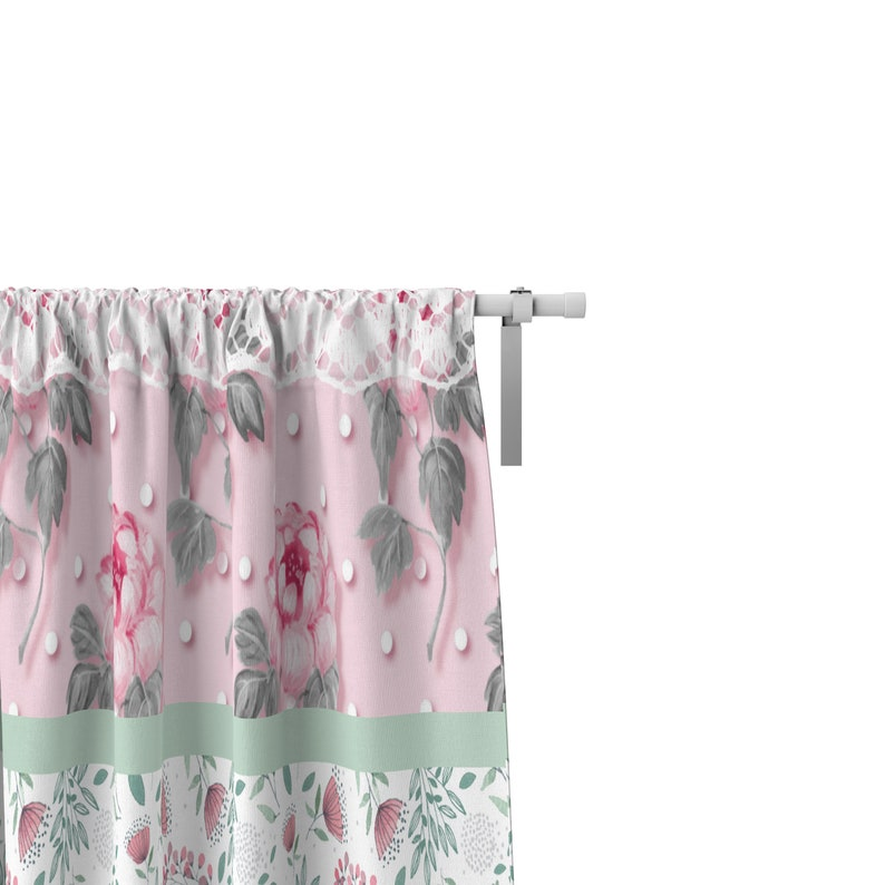 Pink Checks and Floral Shabby Cottage Chic Window Curtains