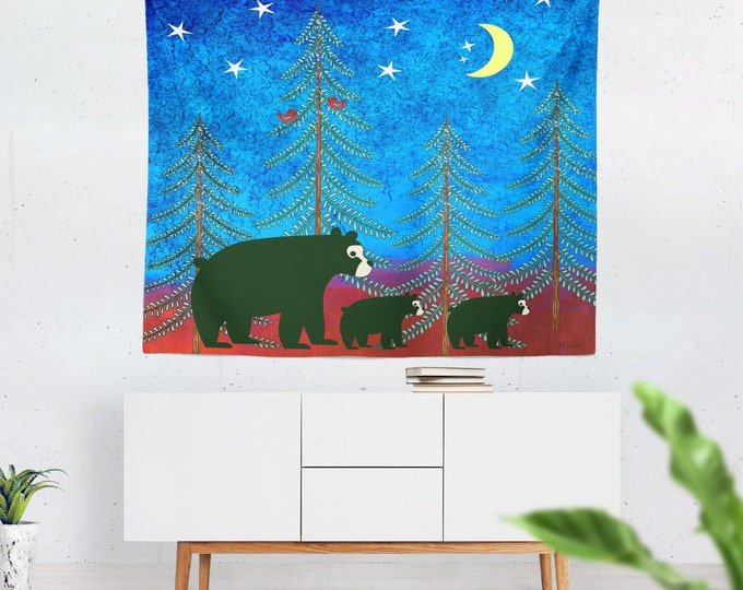 Nordic Woodland Bears Wall Tapestry