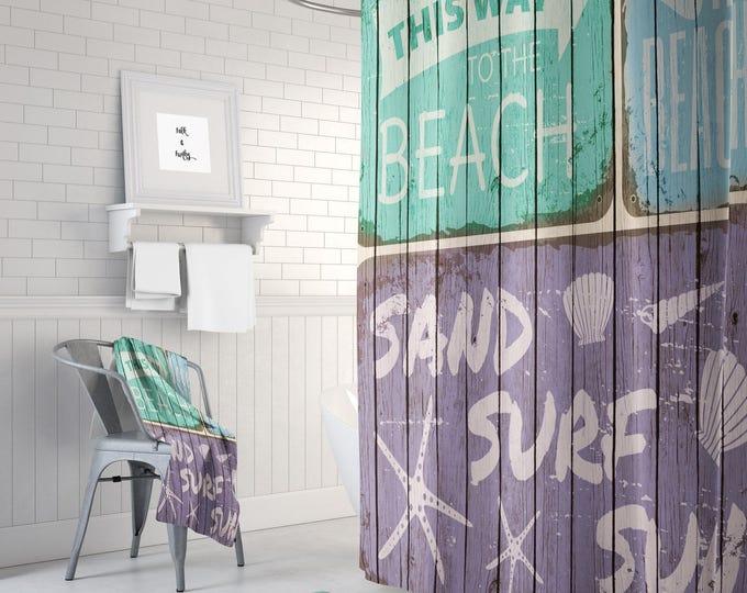 Beach Sign Shower Curtain Rustic Coastal Decor, Bath Mat, Bath Towels