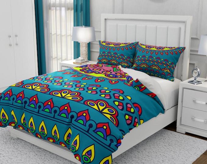 Turquoise Boho Comforter, Duvet Cover Pillow Shams Boho Bedding Set