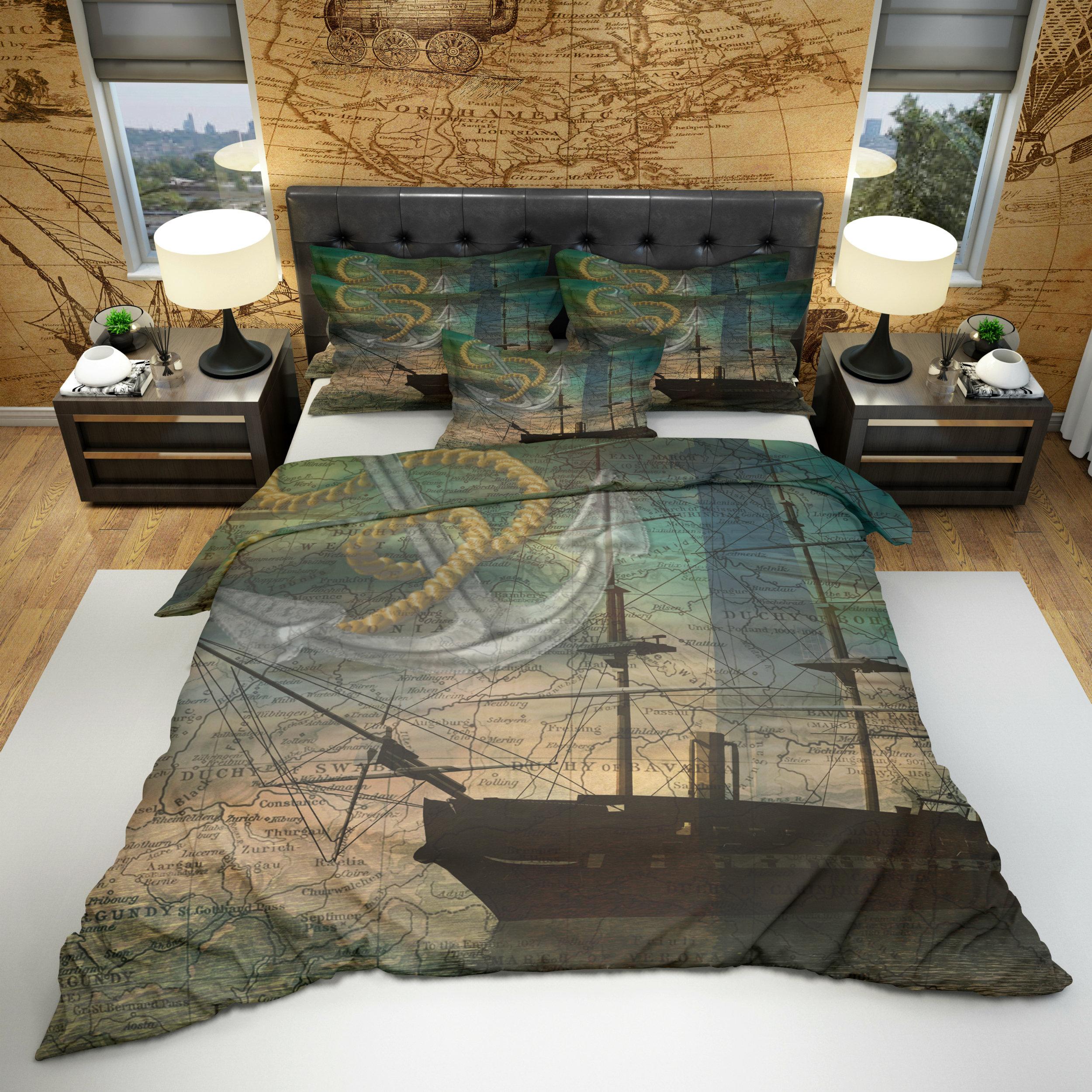 Vintage Nautical Bedding: Bedding Vintage Nautical Comforter Duvet Cover Optional