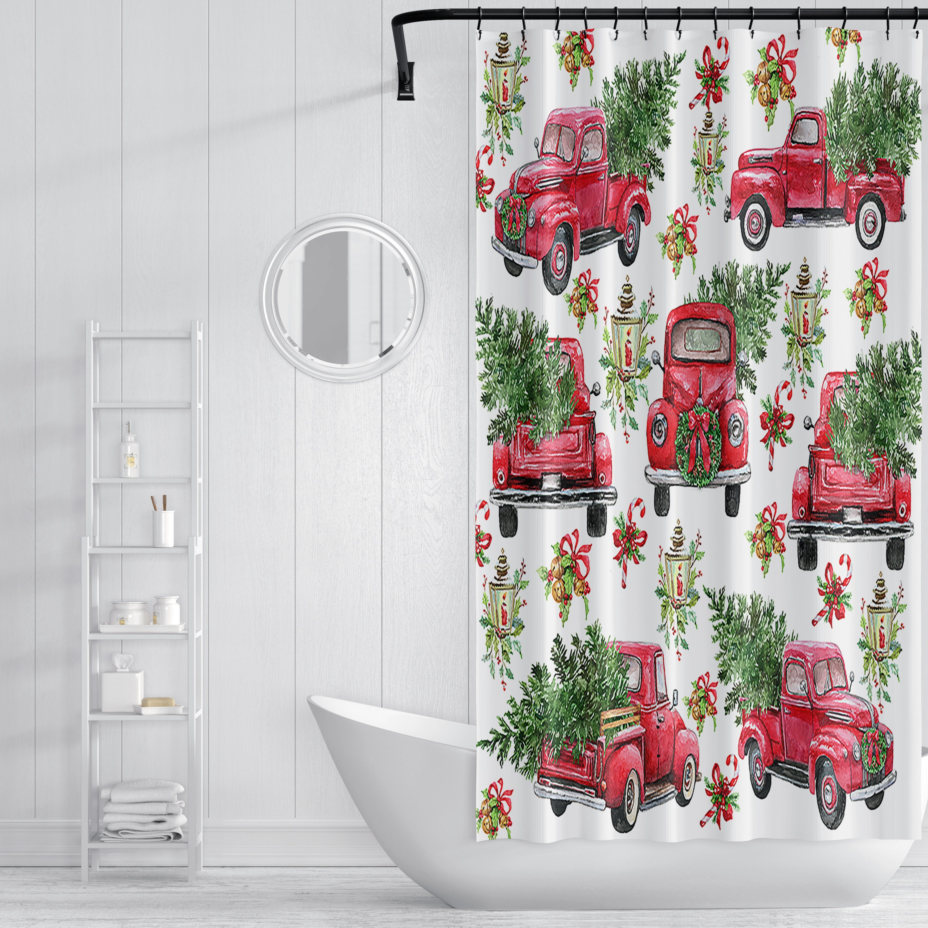 Red Truck Christmas Shower Curtain, Holiday Shower Curtain