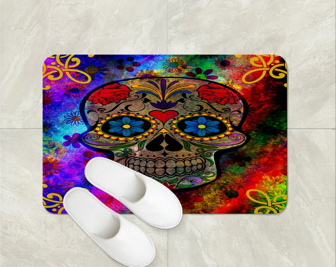 Bath Mat Sugar Skulls Funky Retro Boho Colorful
