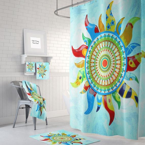 Mandala Sunshine Shower Curtain Boho Chic Gypsy Bath Mat
