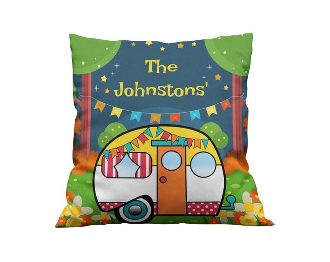 Personalized Vintage Camper Throw Pillow, Pillows Glam Camping