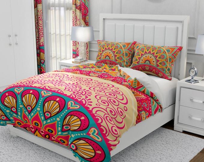 Boho Peacock Bedding Mandala Comforter or Duvet Cover Set