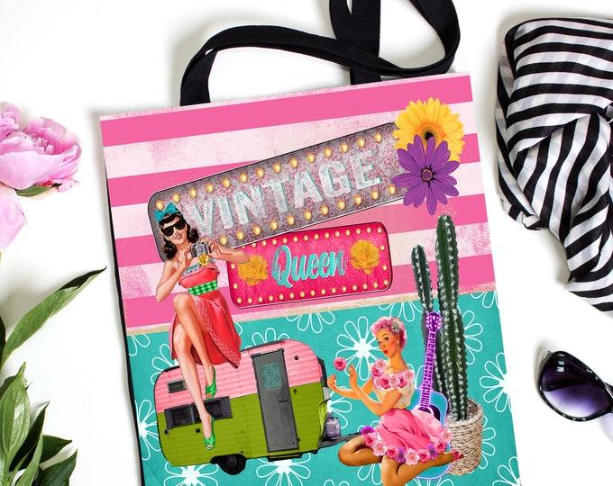 Vintage Queen Retro Style Tote Bag, Glam Bag