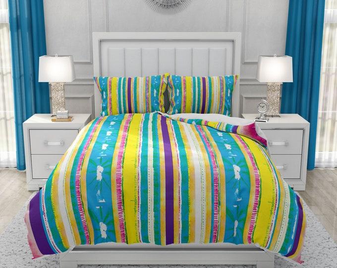 Boho Bedding Colorful Watercolor Stripes