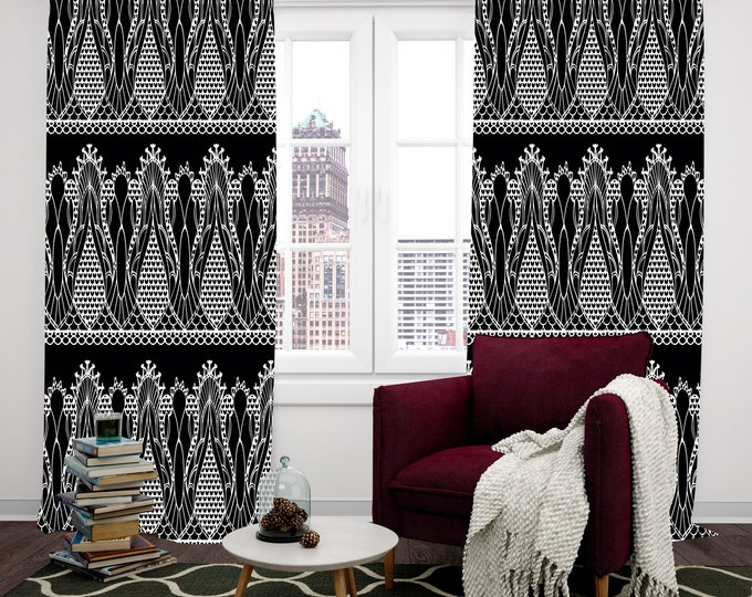 Window Curtains, Custom Sizes, Classic Black and White, Faux Lace Design
