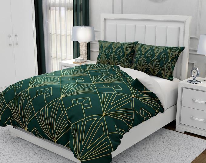 Dark Green Deco Bedding Set