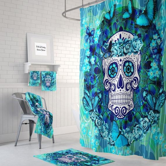 Sugar Skull Shower Curtain Butterflies Teal Blue Bath Mat Etsy