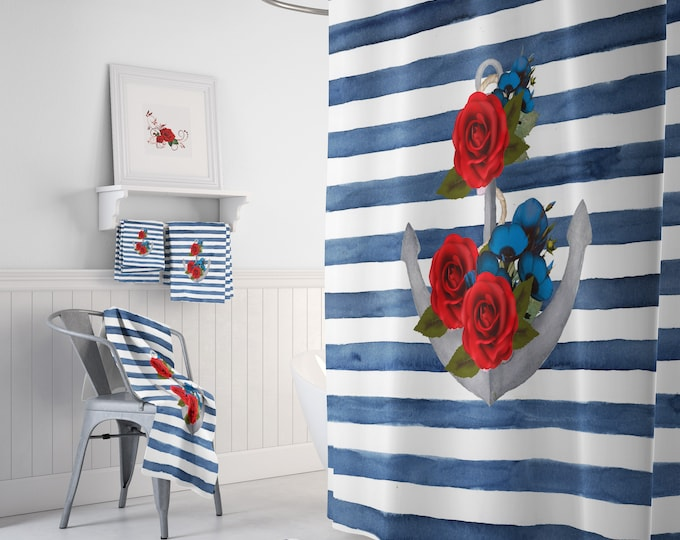 Watercolor Nautical Shower Curtain, Optional set and Accessories