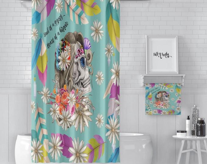 Shower Curtain ,Lady Skull, Gypsy ,Sugar Skulls, Day Of The Dead, Bath Mat, Bath Towels