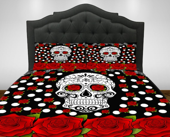 Merveilleux Sugar Skull Comforter Set Duvet Cover Day Of The Dead Decor | Etsy