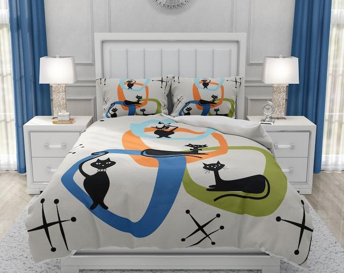 Mid Century Modern Bedding Atomic Cats