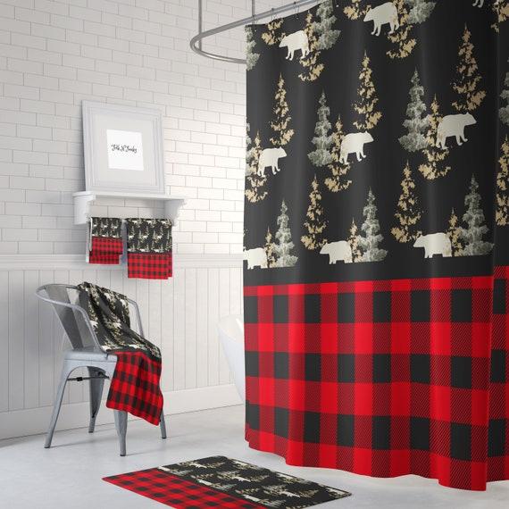 Shower Curtain Rustic Woodland Lumberjack Plaid Bears