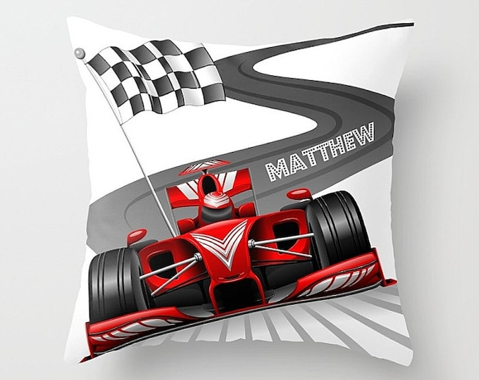 Personalized Race Car Checkered Flag  Throw Pillow