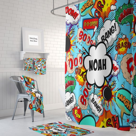 Shower Curtain Personalized Comic Book Sound Effects