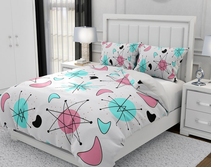 Mid Century Modern Bedding, Atomic Pink Duvet Cover or Comforter, Twin, Full, Queen, King