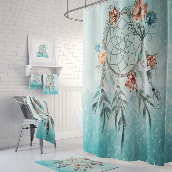 Dream Catcher Shower Curtain Boho Chic Aqua Teal Mist