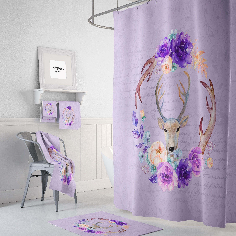 Woodland Deer Shower Curtain Lavender Floral