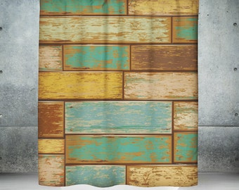 Rustic  Primitive Shower Curtain , Faux Weathered Wood