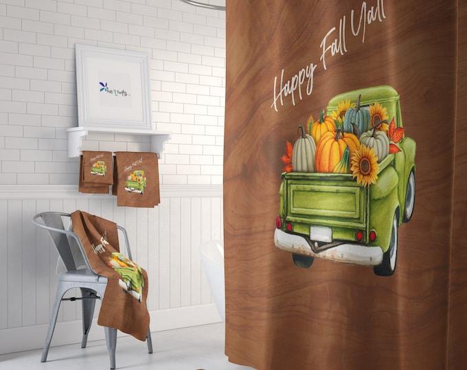 Fall Shower Curtain Green Truck Optional Bathroom Decor