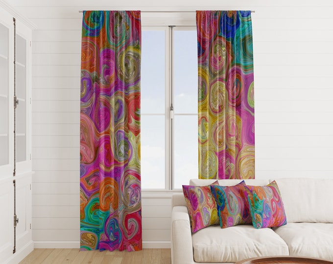 Eclectic Swirl Boho Window Curtains Many Options