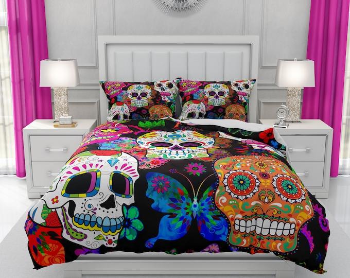 Multi-Color Sugar Skull Comforter or Duvet Cover with Pillow Shams | Decorative Skull Design | Twin, Full, Queen, King Size Bedding