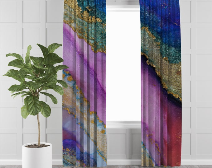 Watercolor Abstract Window Curtains Options Sheer, Semi Sheer, Lined, Blackout, Valances, Many Sizes