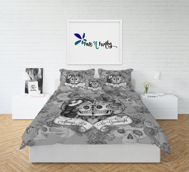 Skull Bedding, Sugar Skull Comforter , Always Kiss Me Goodnight Day ...