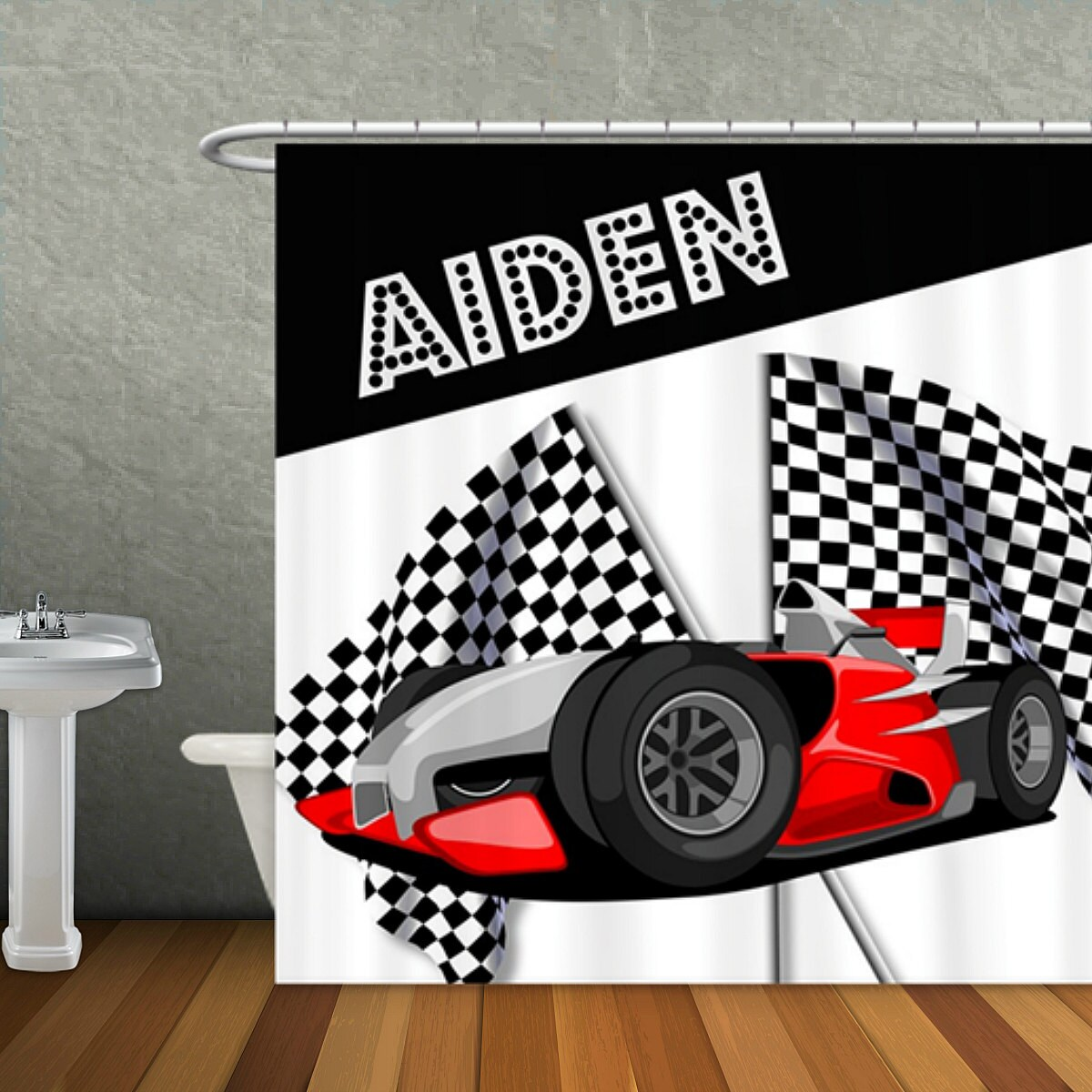 Personalized Race Car Checkered Flag Shower Curtain Custom Monogram Ll