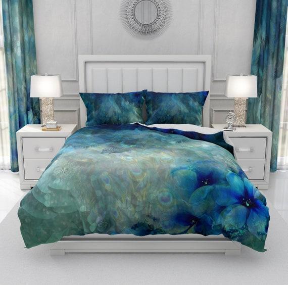 Misty Blue Peacock Comforter Duvet Cover Pillow Shams Etsy