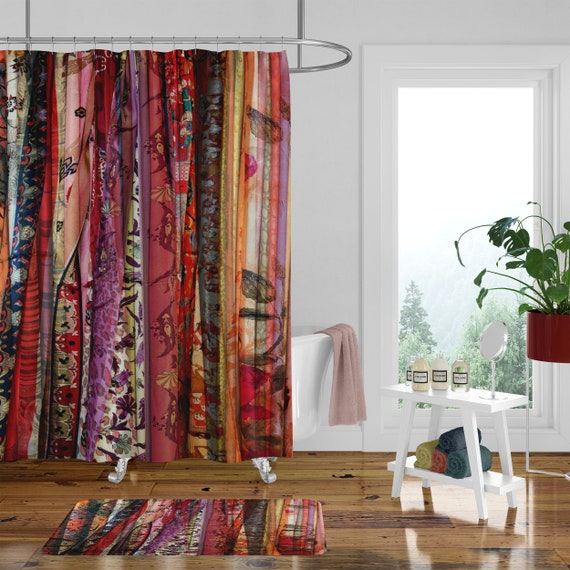 Boho Chic Shower Curtain Optional Bath Mat Bathroom Set Gypsy