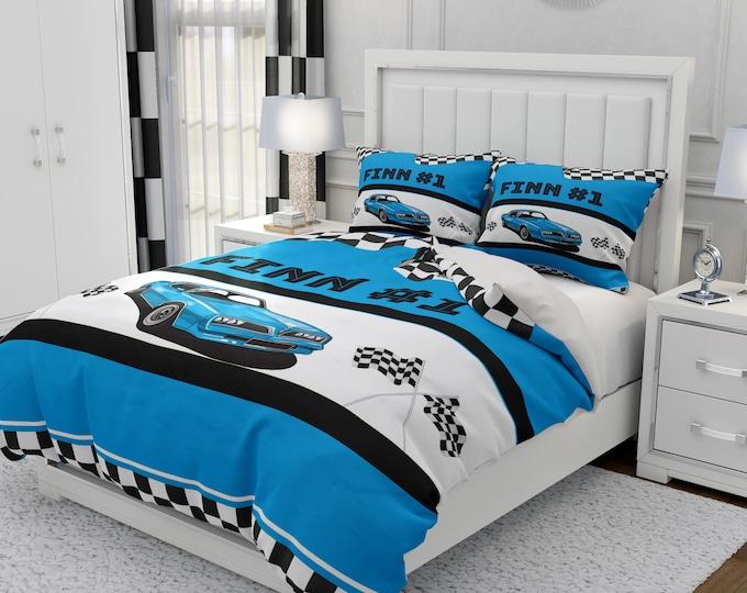 Personalized Race Car Comforter, Duvet Cover, Pillow Shams Blue Racing Bedding