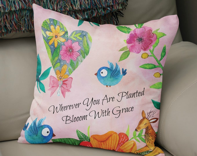 Throw Pillow  , Bloom With Grace, Pink Whimsical
