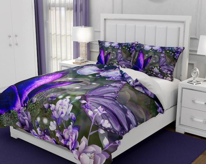 Purple Butterfly Bedding, Comforter, Duvet Cover, Pillow Shams