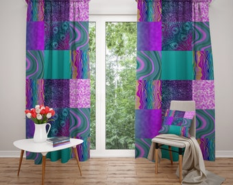 Window Curtains, Purple and Teal  Boho, Faux Patchowrk, Blockout Curtains, Sheer Curtains