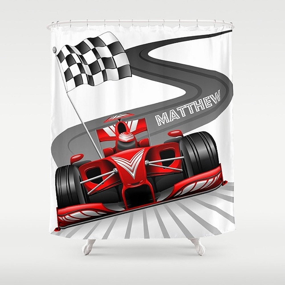 Personalized Race Car Checkered Flag Track Shower Curtain Custom Monogram