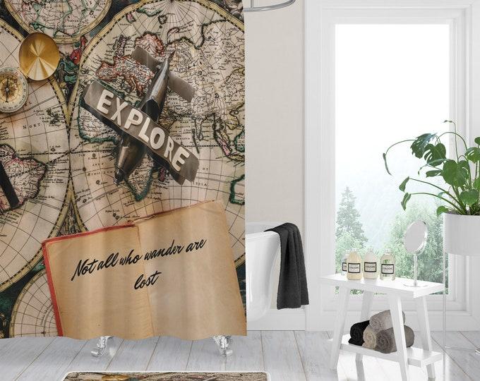 Shower Curtain , Vintage Map, Not All Who Wander, Bath Mat Bath Towel,  Bath Ensemble